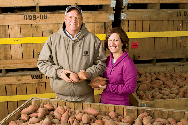 Brent and Sue Leggett grow 500 acres of sweet potatoes in Nashville, N.C.