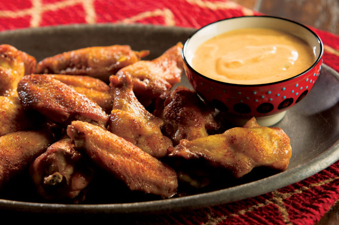 Smoky Wings with Pumpkin Chili Dip