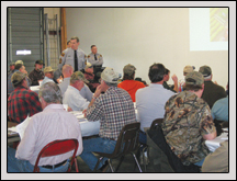 Members of the Highway Patrol talked to citizens about rules of the road for farm vehicles at a transportation meeting in Gates County.