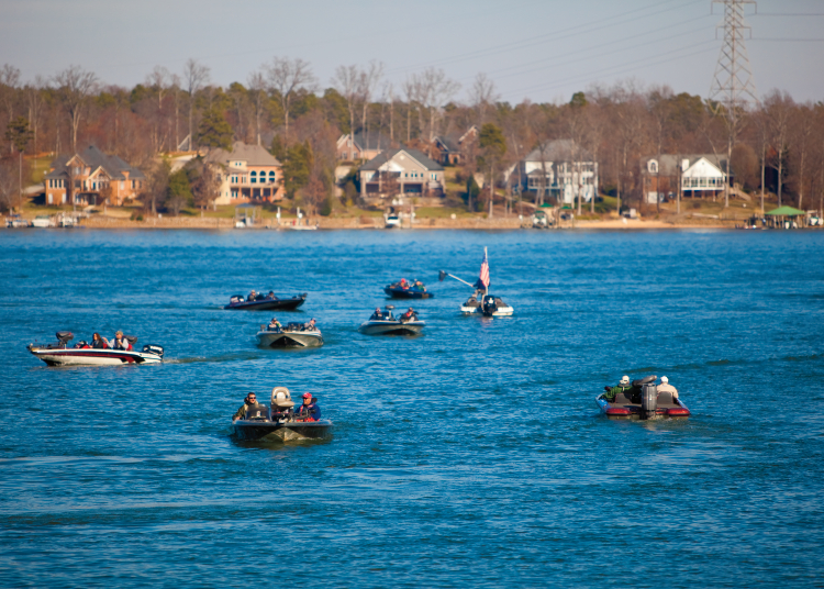 Fishing on boats in Lake Norman
