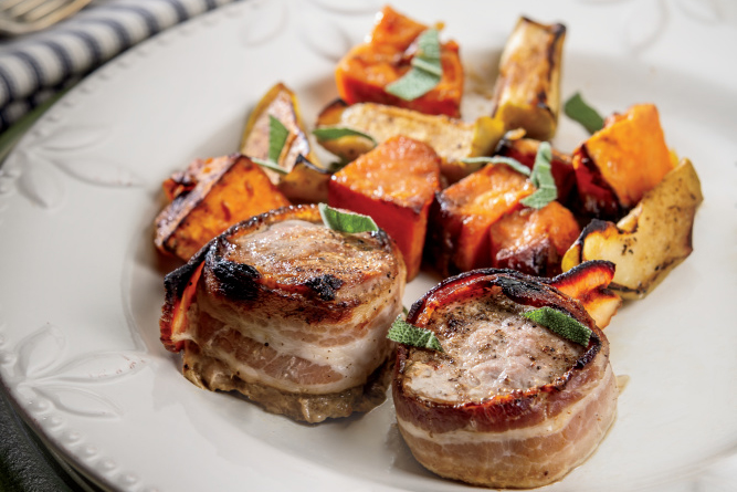 Bacon-Wrapped Pork Tenderloin with Sweet Potatoes and Apples