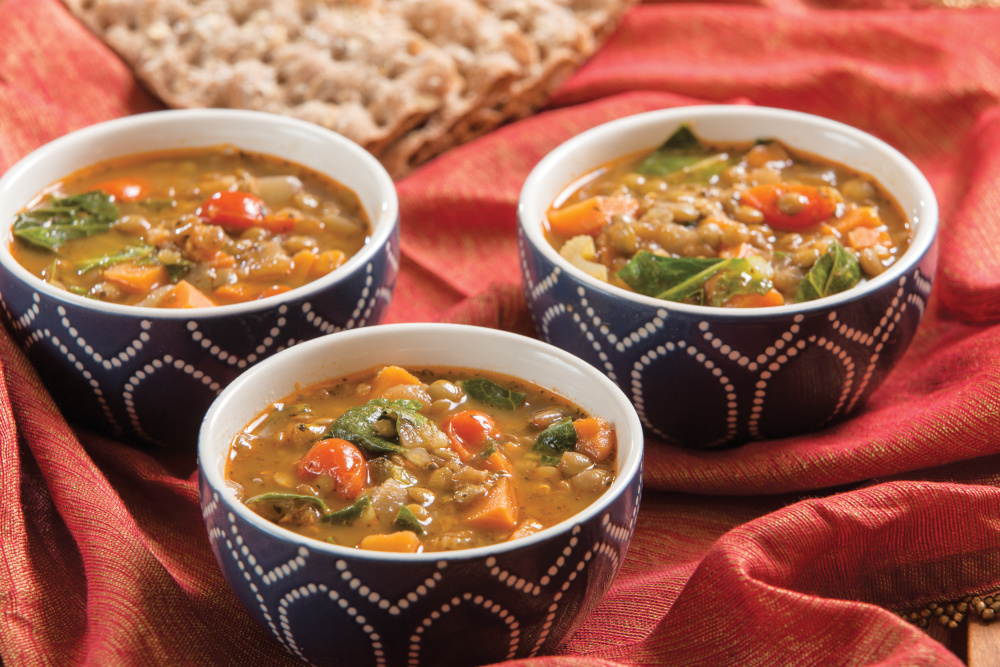 Hearty Lentil Soup with Sweet Potato and Greens