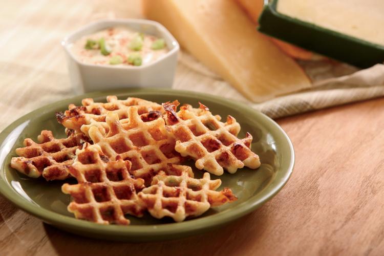 Cheesy Bacon Cornbread Waffle Bites