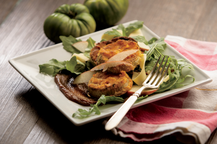 Fried Green Tomatoes with Apple Mustard