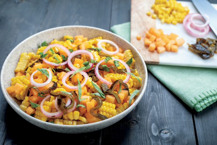 Vivian Howard's Raw Corn and Cantaloupe Salad with Red Onion and Roasted Poblano Recipe